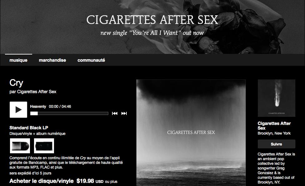 Bandcamp - Cry par Cigarettes After Sex