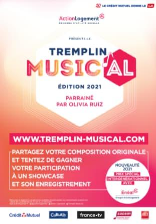 4 e ÉDITION DU CONCOURS LE TREMPLIN MUSIC'AL 2021 D'ÉNÉAL-ACTION LOGEMENT PARRAINÉ PAR OLIVIA RUIZ