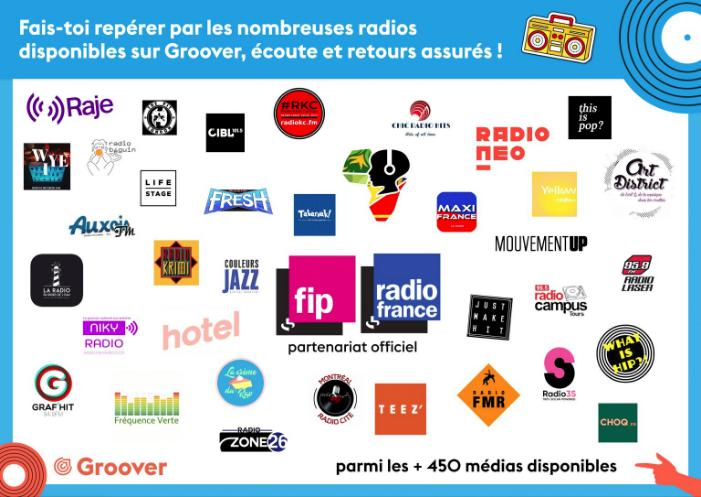 Passer en radio, partenariat Radio France, FIP, Raje, RKC, NotYourFan MyRadio, Bip Radio, TST, What Is Hip, Art District Radio, Just Make It, Radio Neo et beaucoup d'autres