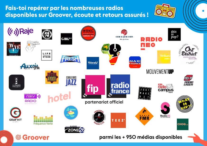 Passer en radio, partenariat Radio France, FIP, Raje, RKC, NotYourFan MyRadio, Bip Radio, TST, What Is Hip, Art District Radio, Just Make It, Radio Neo et beaucoup d'autres