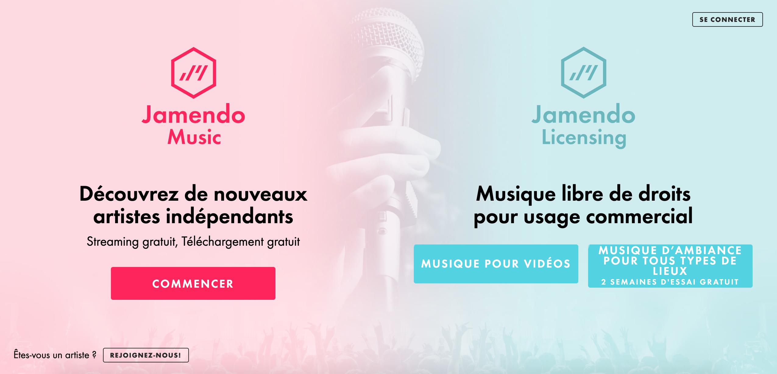 Page d'accueil Jamendo