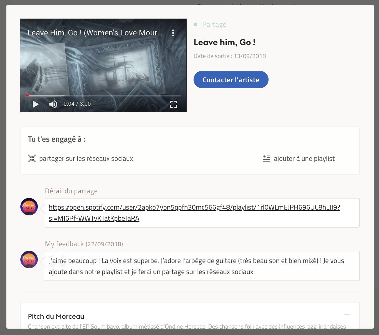 Exemple d'une proposition de partage sur Groover