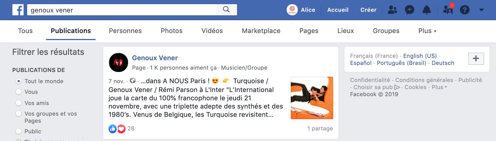 Recherche de publication sur Facebook