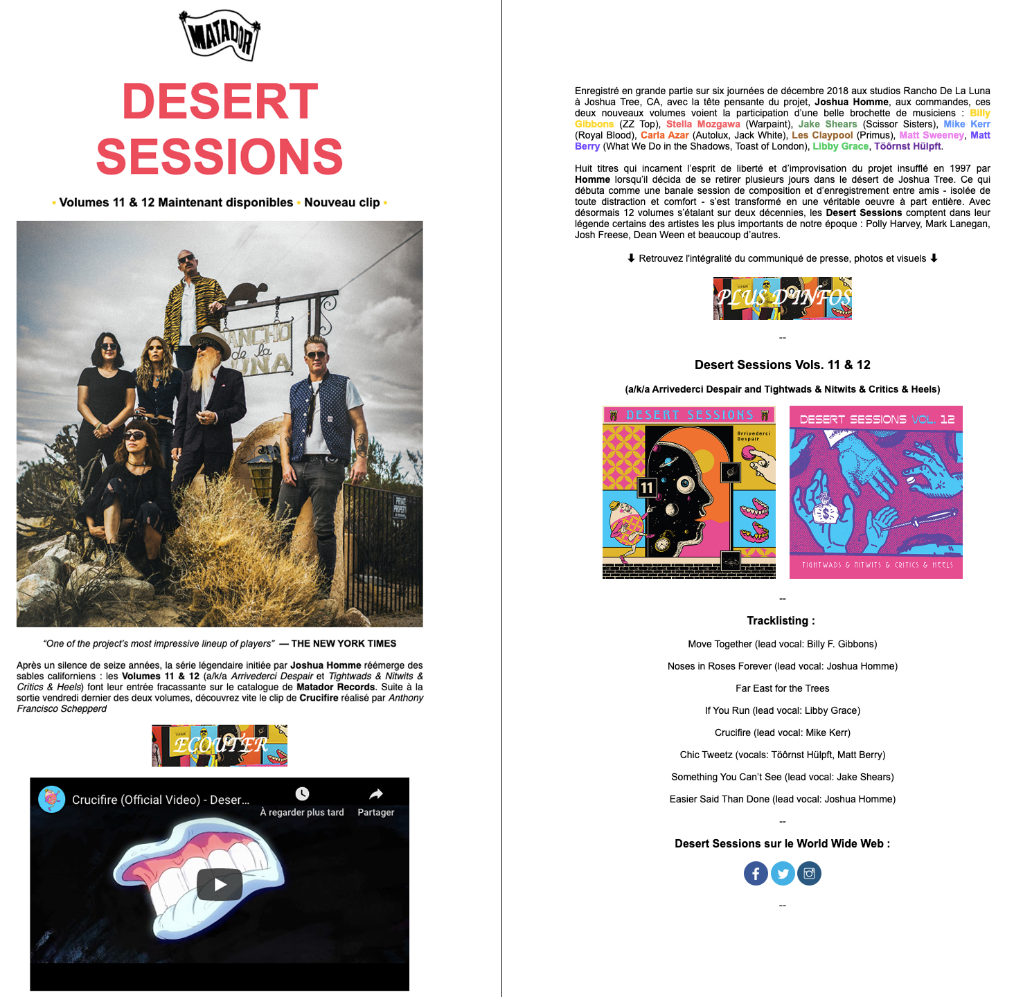 Exemple de newsletter pour musiciens