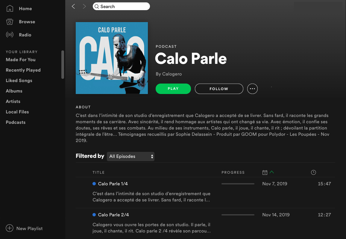"Calogero's podcast ""Calo Parle"" in which he uses storytelling to reveal his intimacy with his fans."