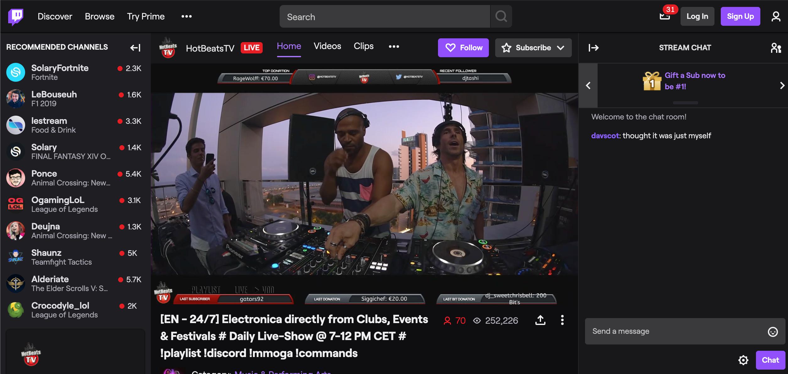 Live sur Twitch