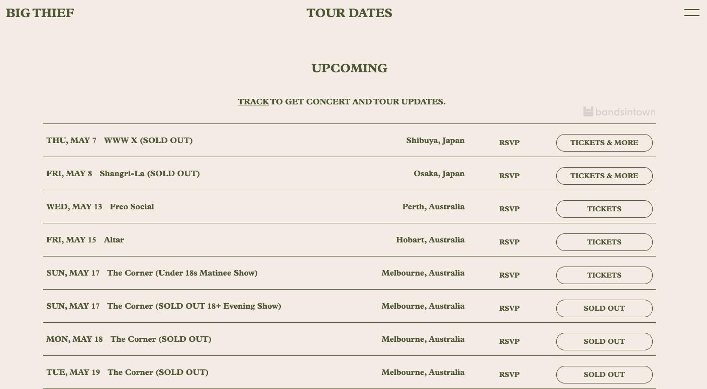 """Page """"Dates de concerts"""" d'un site internet de musicien - Big Thief"""