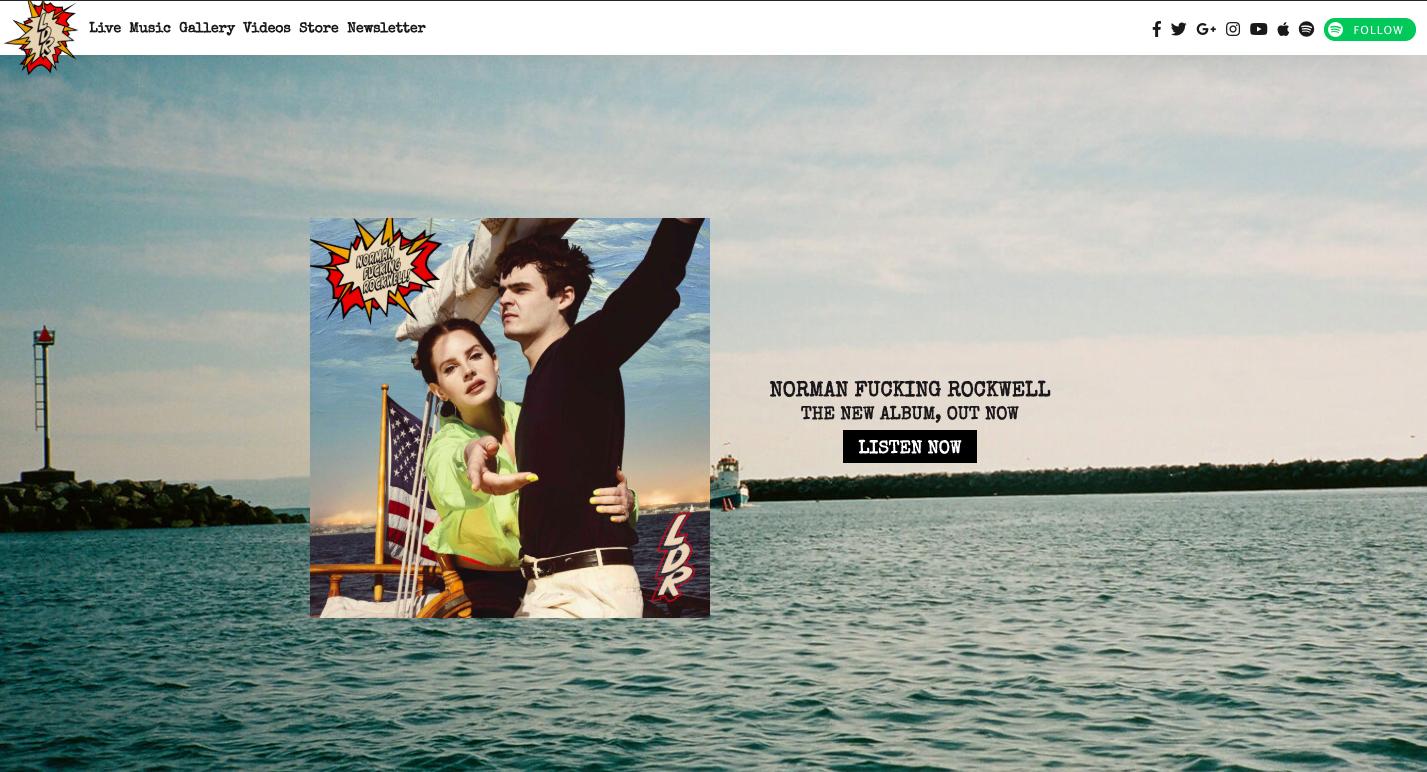 Site web pour les musiciens - Page d'accueil - Lana Del Rey