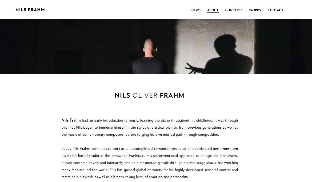 """Page """"À propos"""" d'un site web de musicien - Nils Frahm"""