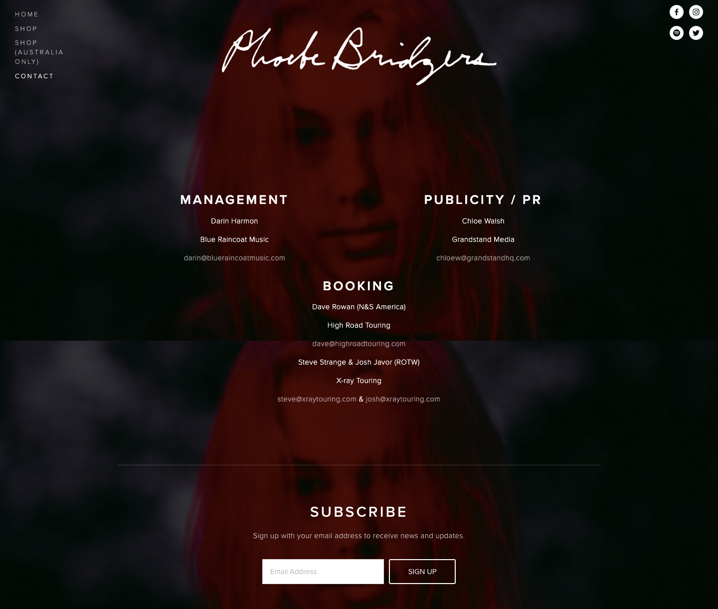 Page contact d'un site web de musicien - Pheobe Bridgers