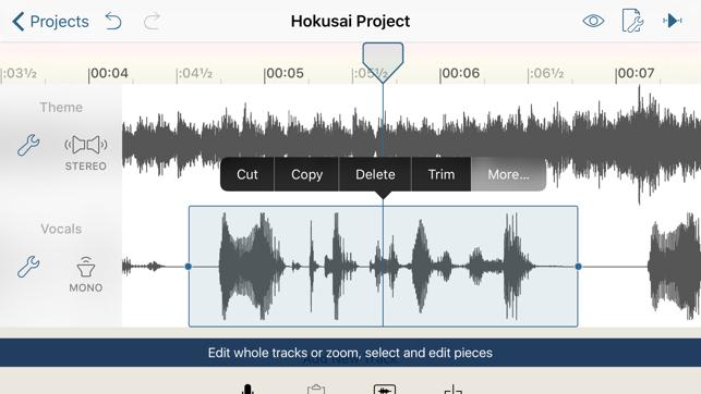 Les meilleures applications pour les musiciens - Hokusai Audio Editor