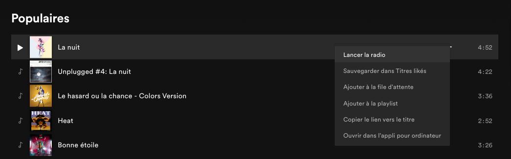 Playlists Spotify - Radios crées à partir d'un morceau