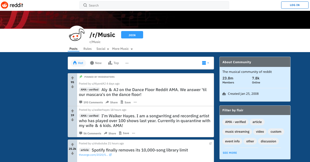 Reddit - Un excellent outil pour faire grossir vos propres playlists Spotify