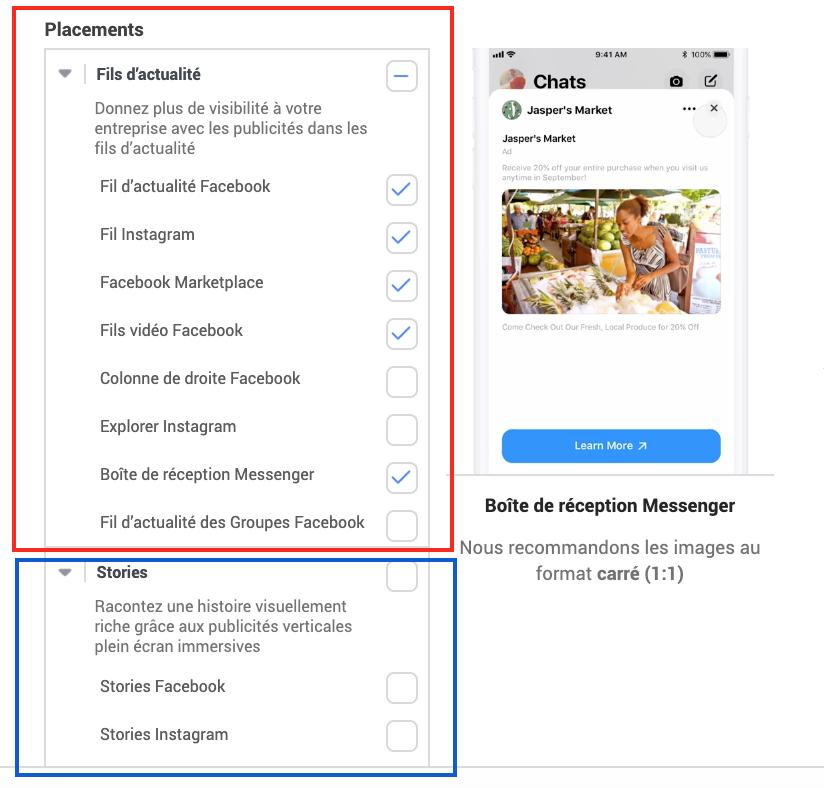 Les différentes placements Facebook ADS et Instagram ADS