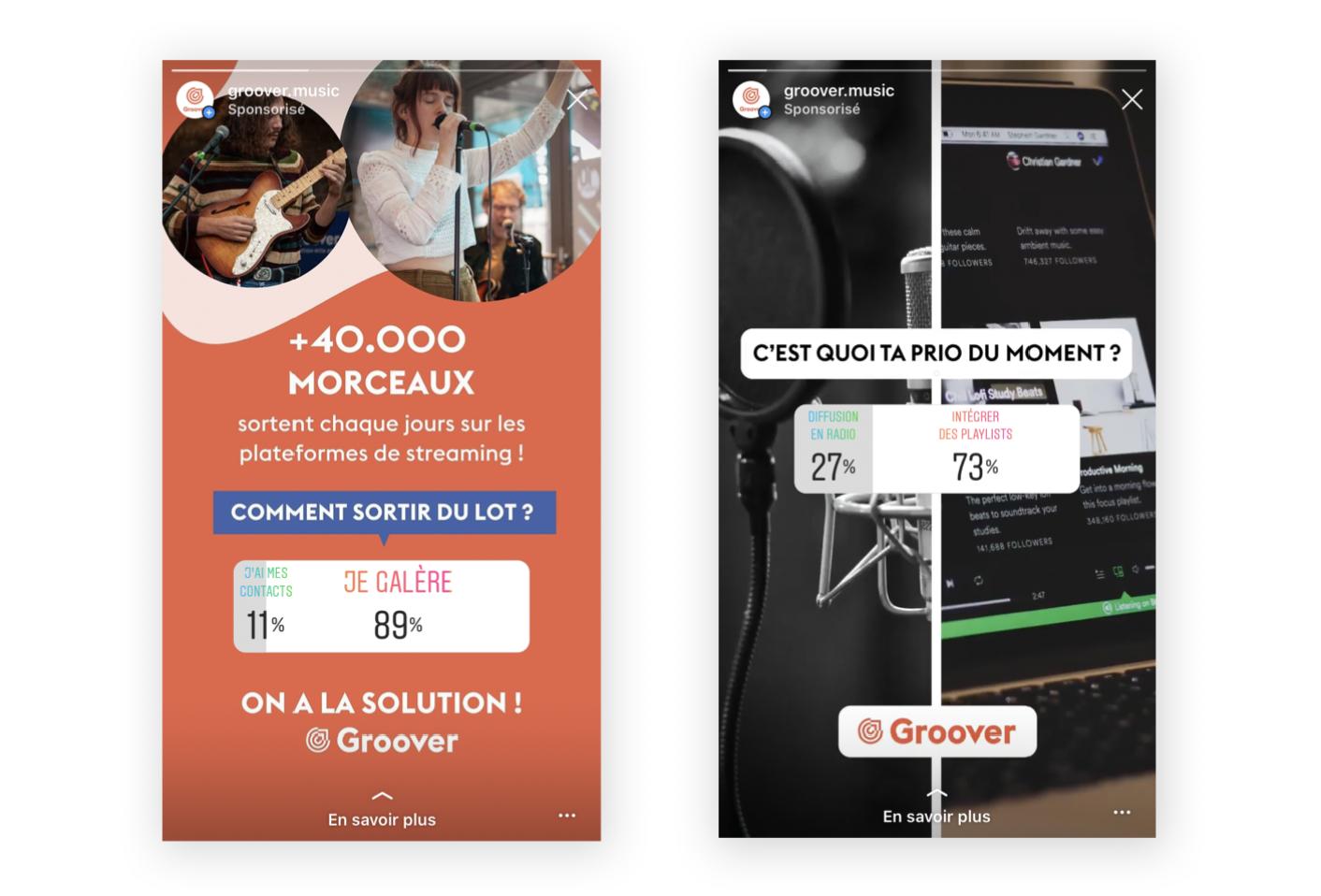 Exemple des publicités sondages de Groover