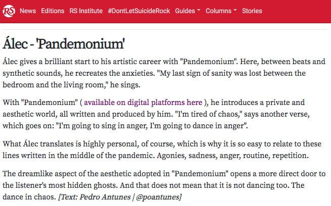 Álec - Pandemonium - RollingStone