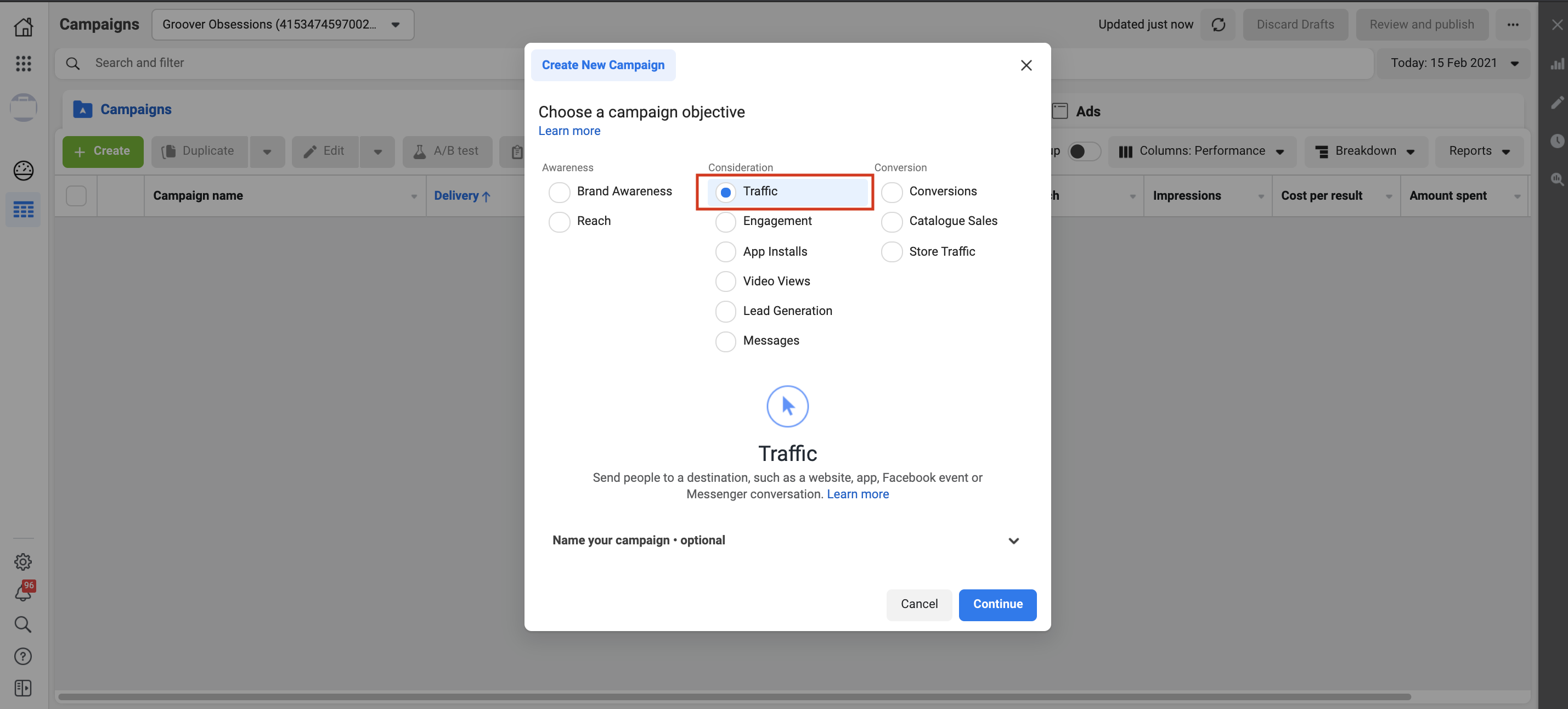 Creation of a Facebook Ads Traffic Campaign