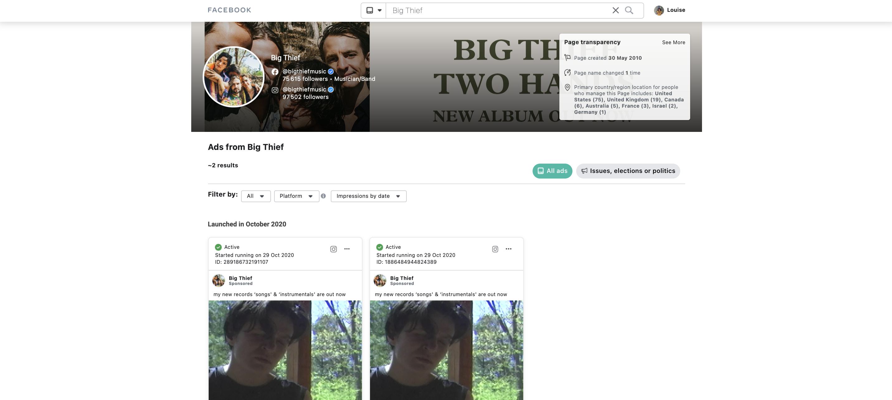 Facebook library, example of Big Thief ads