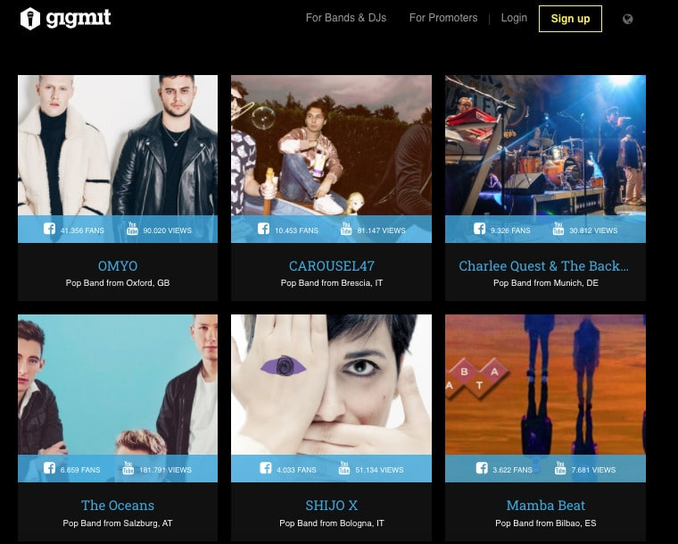 gigmit, artists page for booking