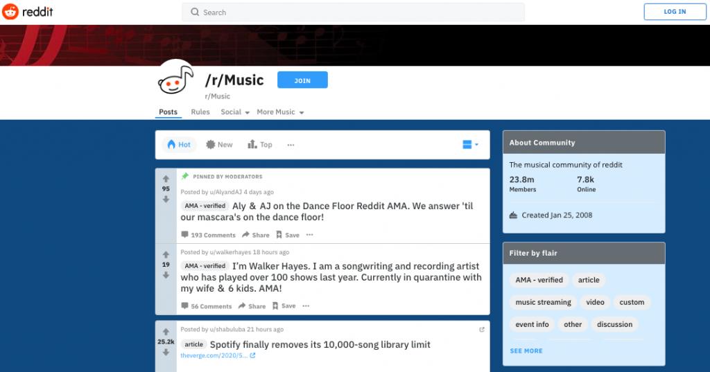 Mostrar publicação de playlist no Reddit