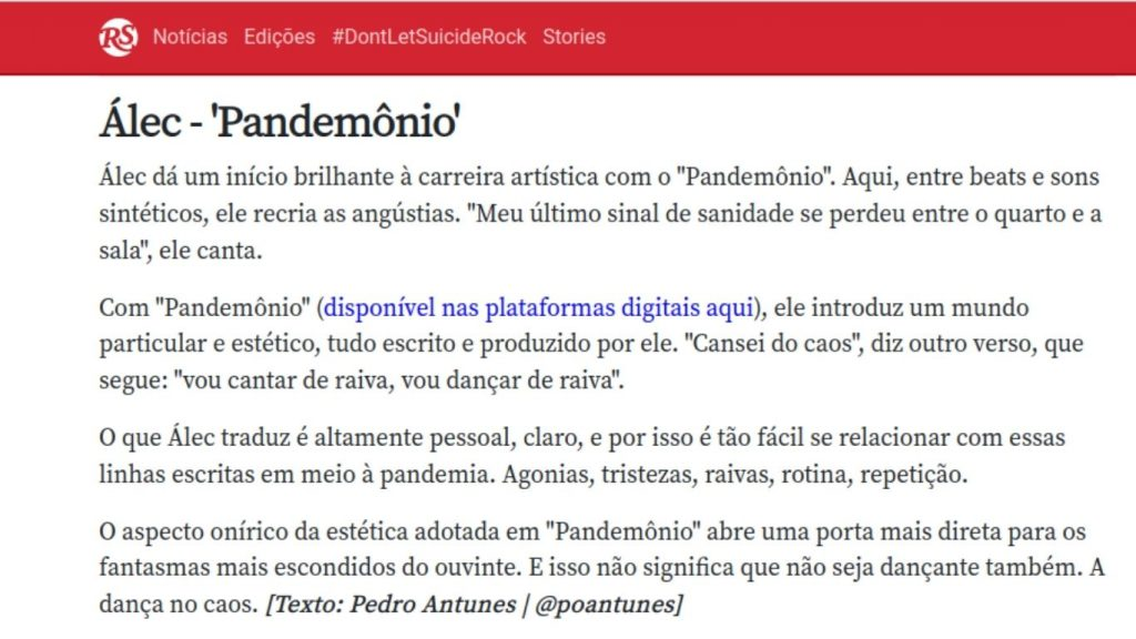 Álec na HOTLIST Rolling Stone Brasil