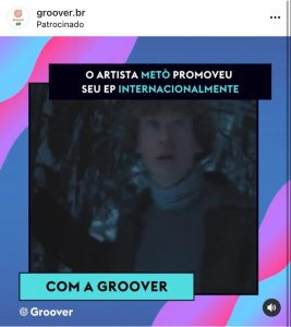 promoção musical Ad da Groover no Instagram