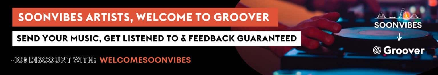 With Soonvibes, we want toallow musicians of the electronic sceneand all the other music genres to develop their visibility and network. Soonvibes artists, take advantage of our welcome offer on Groover with the code WELCOMESOONVIBES*