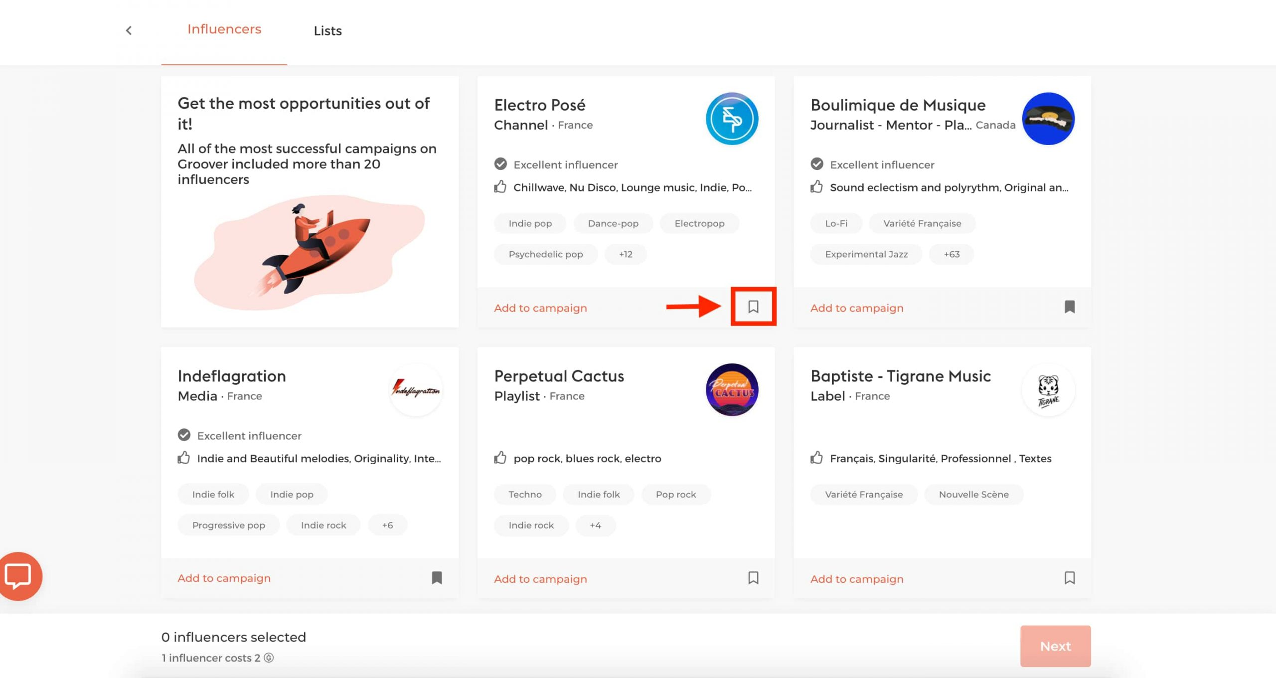On Groover you can prepare organized lists of influencers- via the little bookmark icon- based on promotion type or timing