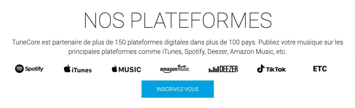 Avec TuneCore, votre musique est distribuée sur plus de 150 plateformes de streaming dans le monde entier : Spotify, Apple Music, Youtube, TikTok, Deezer, etc.