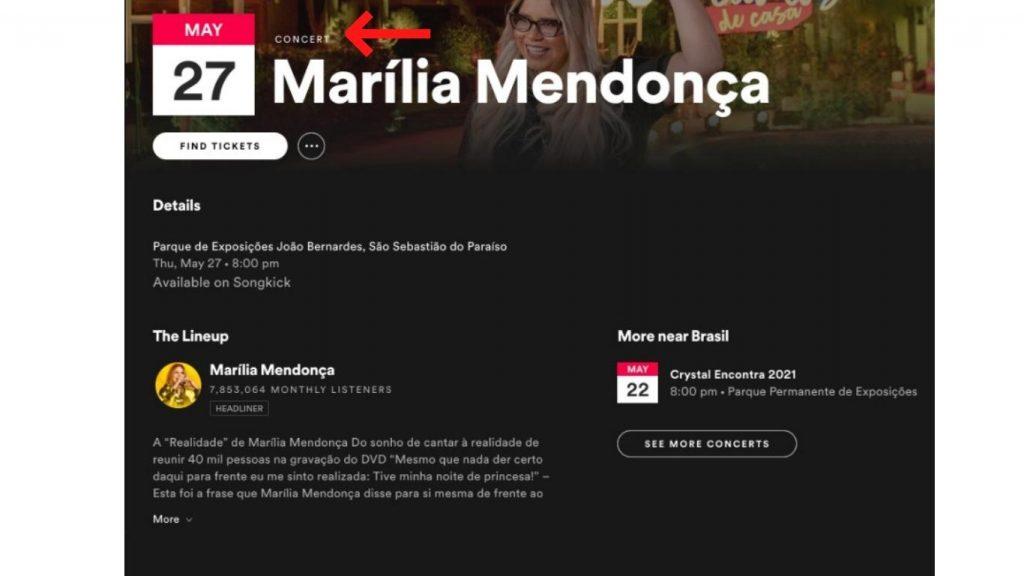 Marília Mendonça anuncia seu próximo show em seu perfil do Spotify