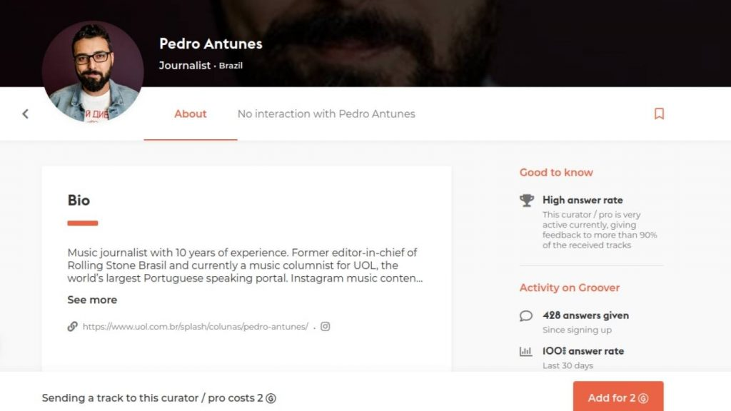 Perfil do Pedro Antunes na Groover