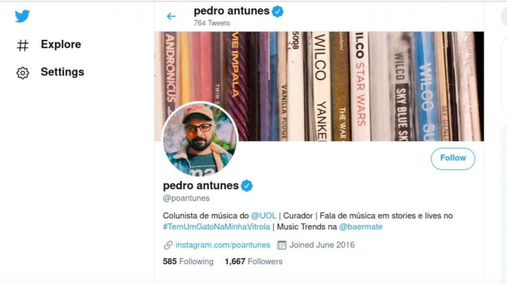 Perfil do Twitter do Pedro Antunes