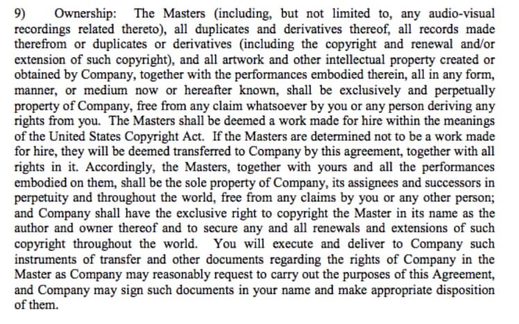 Esempio di Clausola Allarmante: Garantisce all'etichetta di continuare ad usufruire delle registrazioni anche a contratto terminato.Esempio di Clausola Allarmante: Garantisce all'etichetta di continuare ad usufruire delle registrazioni anche a contratto terminato.