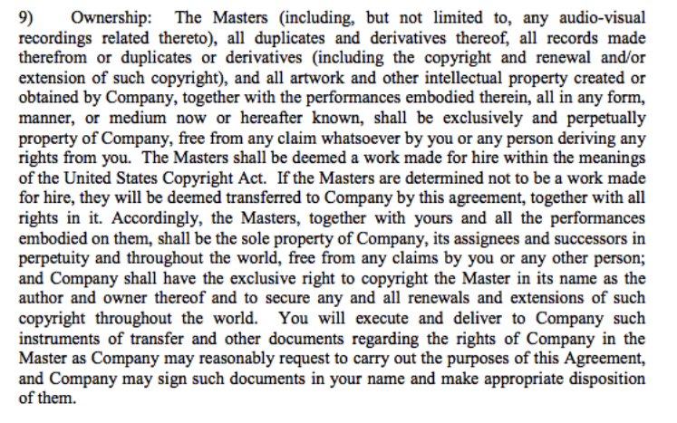Example of an alarming clause: this guarantees the label to continue to take advantage of the ownership beyond its termination