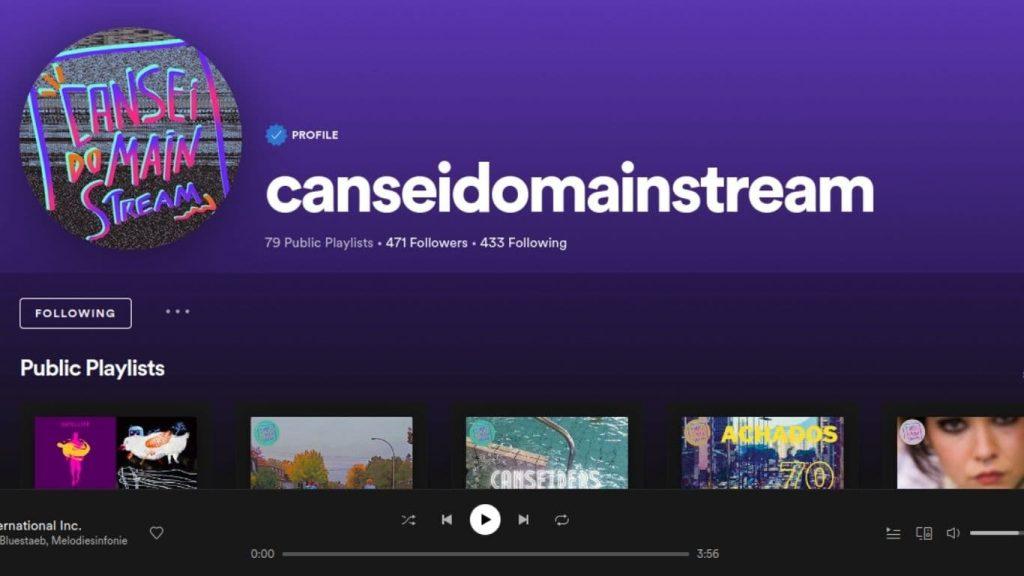 Perfil do Cansei do Mainstream no Spotify