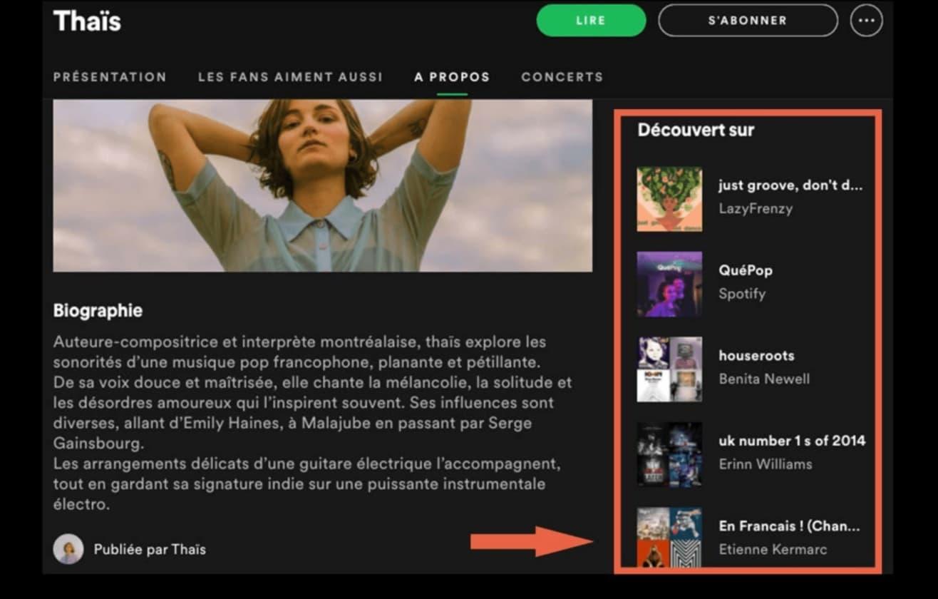 L'artiste peut regarder les playlists officielles ou playlists de tiers dans lesquelles ses artistes similaires apparaissent sur Spotify.