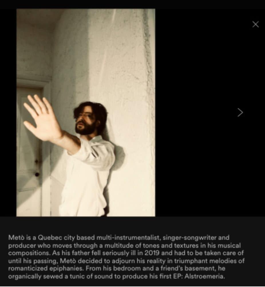 Ejemplo de una biografía en Spotify del artista Metò