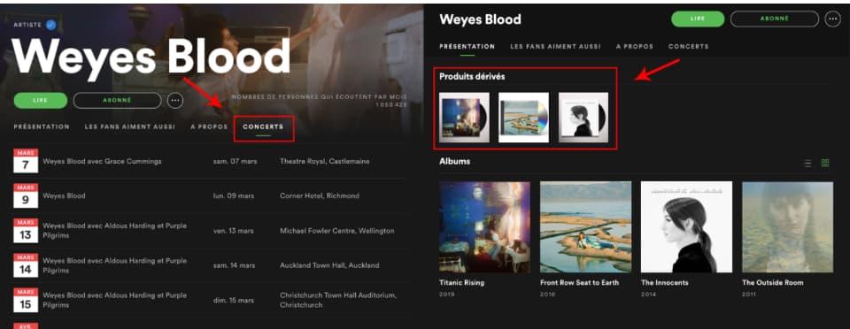 Weyes Blood destacando sus fechas de conciertos y merchandising en Spotify