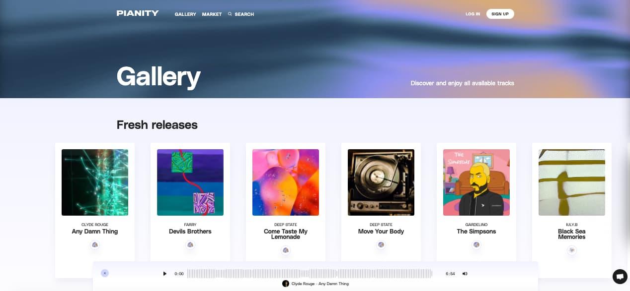 Pianity homepage - music NFT