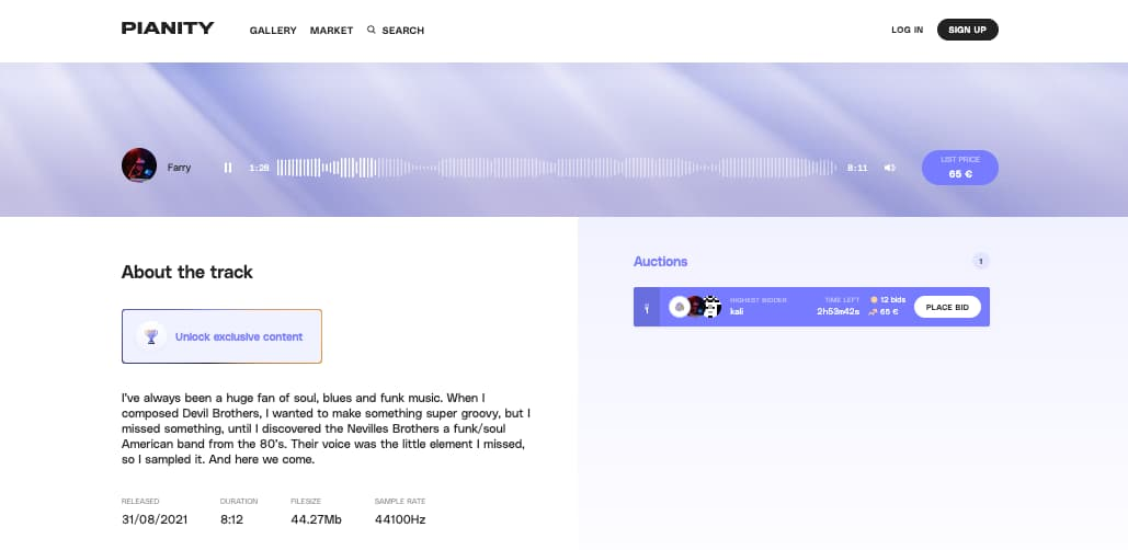 Example of an artist page on Pianity